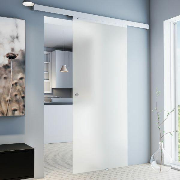 Porte intérieure coulissante, 88 x 203 cm, verre opaque